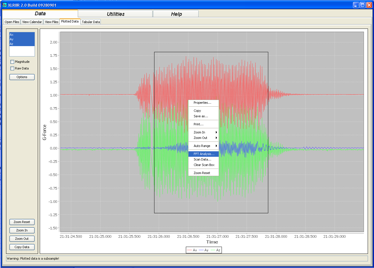 Test 1 Accelerometer Vibration Data